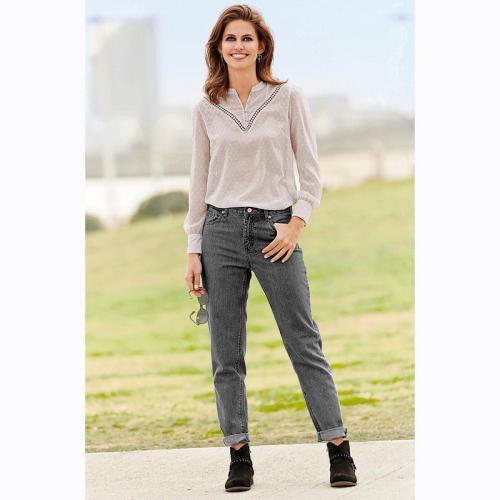 5ca9ad23ada41 3 Suisses - Jean boyfriend 5 poches taille haute femme Exclusivité 3SUISSES  - gris foncé -