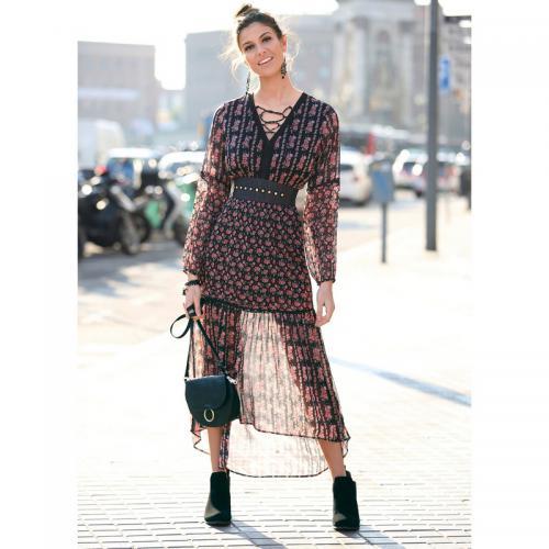 3 SUISSES - Robe longue asymétrique imprimée manches longues et dentelle femme  Exclusivité 3SUISSES - Imprimé 324a89a9b0f