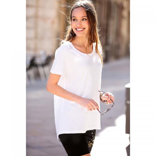 3 Suisses - Tee-shirt asymétrique fendu manches courtes femme Exclusivité  3SUISSES - Blanc - 34bdd6f659a9