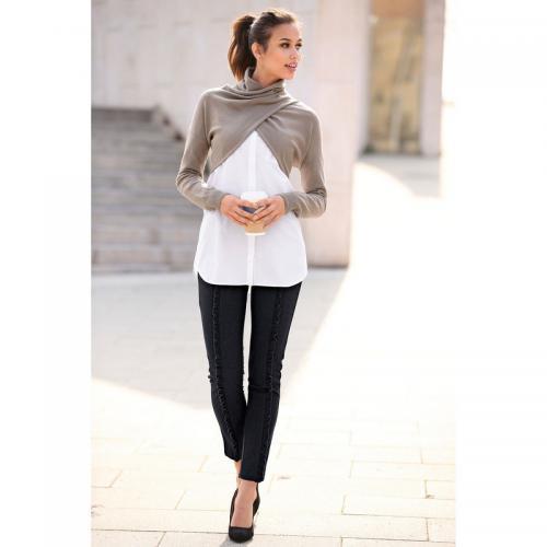 4dbcad5f547f7 3 Suisses - Pantalon taille élastique volants verticaux pinces et poches  femme exclusivité 3Suisses - Noir