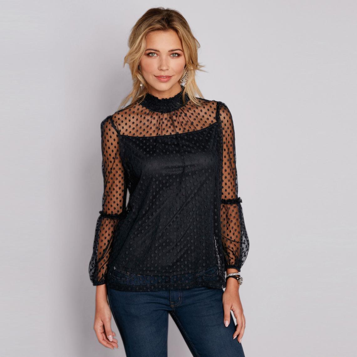74e2abd833 Tee-shirt plumetis col montant manches longues et volants femme - Noir