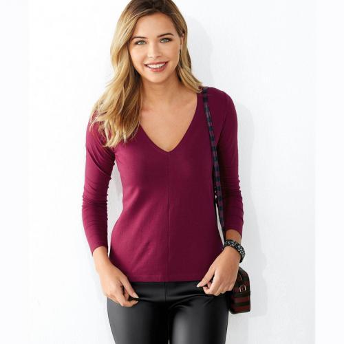 00be4cf7d331f 3 Suisses - Tee-shirt manches longues col en V femme Exclusivité 3SUISSES -  Rouge