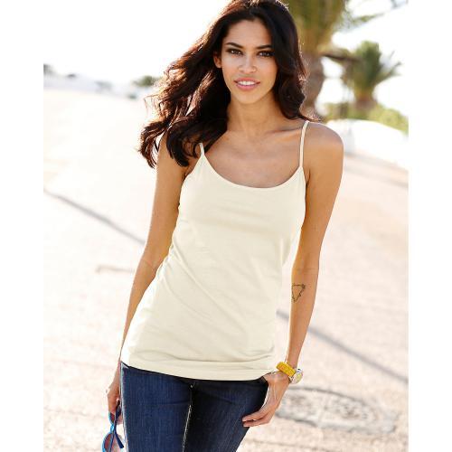 4cb790eea022a Tee-shirt uni à bretelles maille élastique femme - ÉCRU