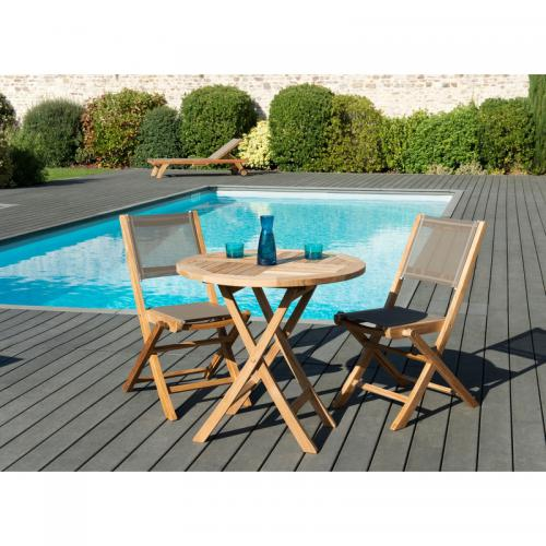 MACABANE - Ensemble table ronde pliante 80 cm + 2 chaises pliantes en teck massif et textile - Teck - Ensemble table, chaise