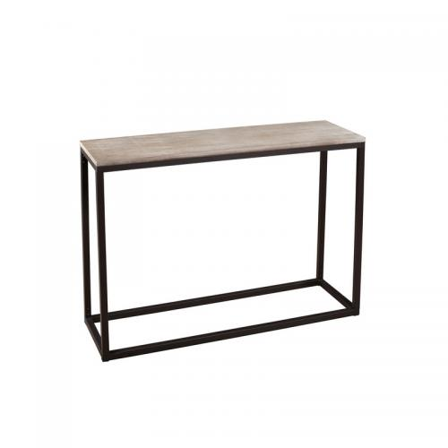 3 SUISSES - Console rectangulaire style industriel - Bois - Salon