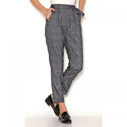 1b3df836bd75 3 Suisses - Pantalon à carreaux taille haute et ceinture à nouer femme  Exclusivité 3SUISSES -