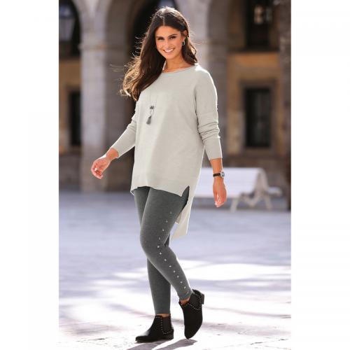 3 SUISSES - Legging taille élastique punaises latérales aspect chiné  grandes tailles femme exclusivité 3 SUISSES 9a4ffcb03f4
