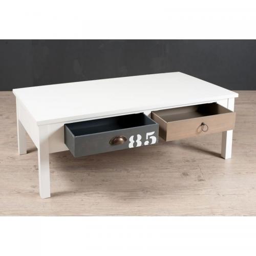 Table basse rectangulaire 4 tiroirs style bord de mer Table basse multicolore