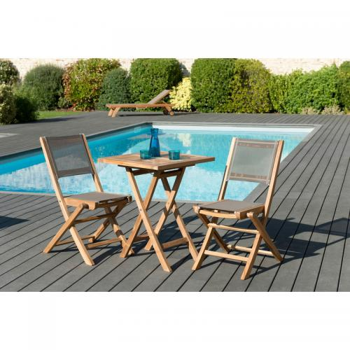 MACABANE - Ensemble table carrée pliante 60 cm + 2 chaises pliantes en teck massif et textile - Teck - Ensemble table, chaise