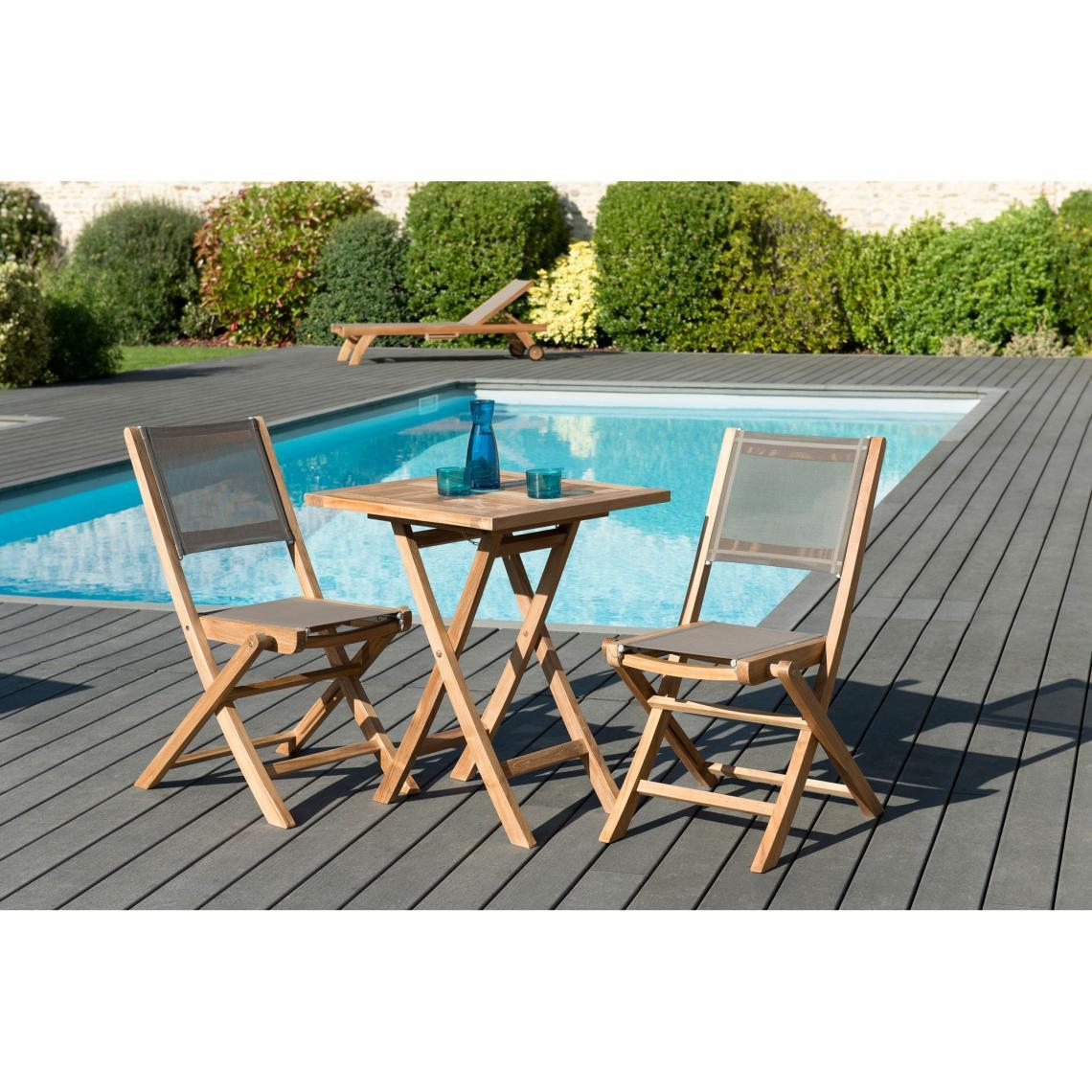 Teck pliante textile pliantes teck cm2 chaises Ensemble massif carrée en table et 60 m80wvNOn