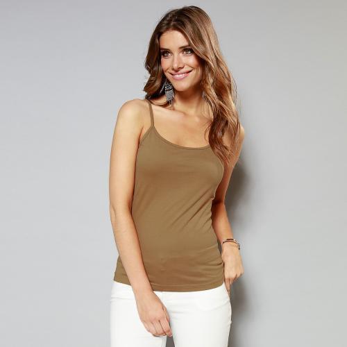 fb5c17f14bb10 Tee-shirt uni à bretelles maille élastique femme - Kaki