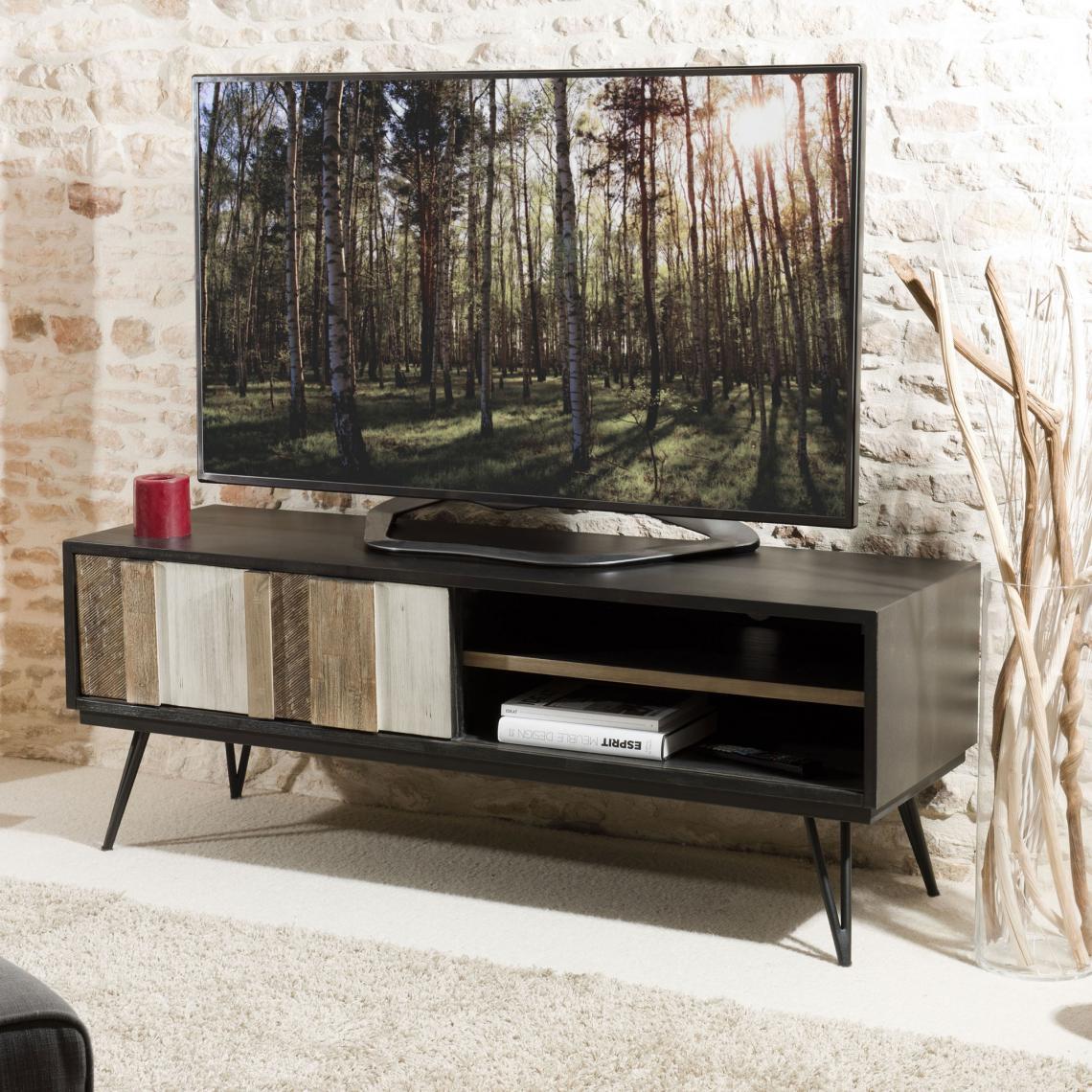 Meuble tv 1 porte coulissante 2 niches pieds pingle style industriel multicolore 3 suisses - 3 suisses meuble tv ...