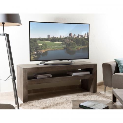 Meuble TV rectangulaire avec tablette - Gris Tabac