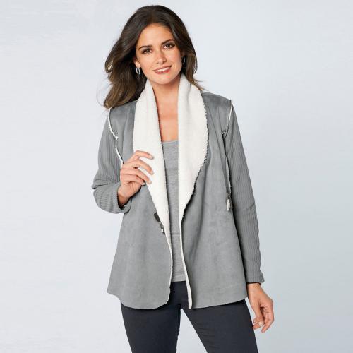 69fe5923512aa 3 Suisses - Veste tri-matière manches longues et poches femme exclusivité  3Suisses - Gris