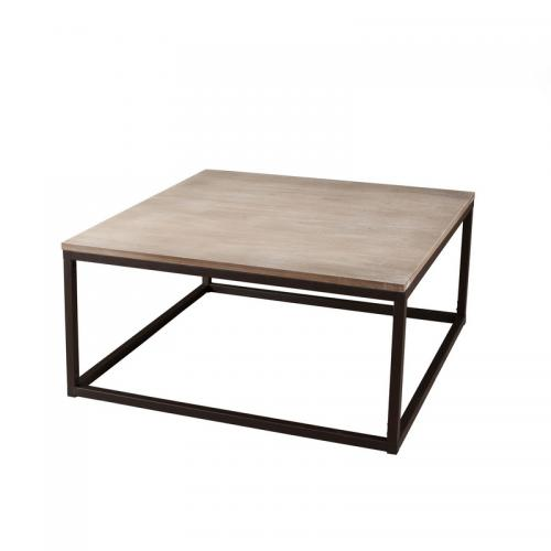 3 SUISSES - Table basse carrée 90 x 90 cm style industriel - Bois - Salon