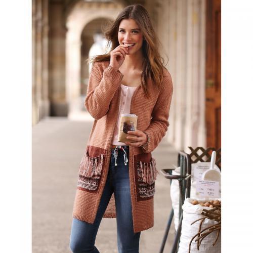 29a2f95c03339 3 Suisses - Gilet ouvert manches longues poches plaquées avec franges femme  exclusivité 3Suisses - Rouge