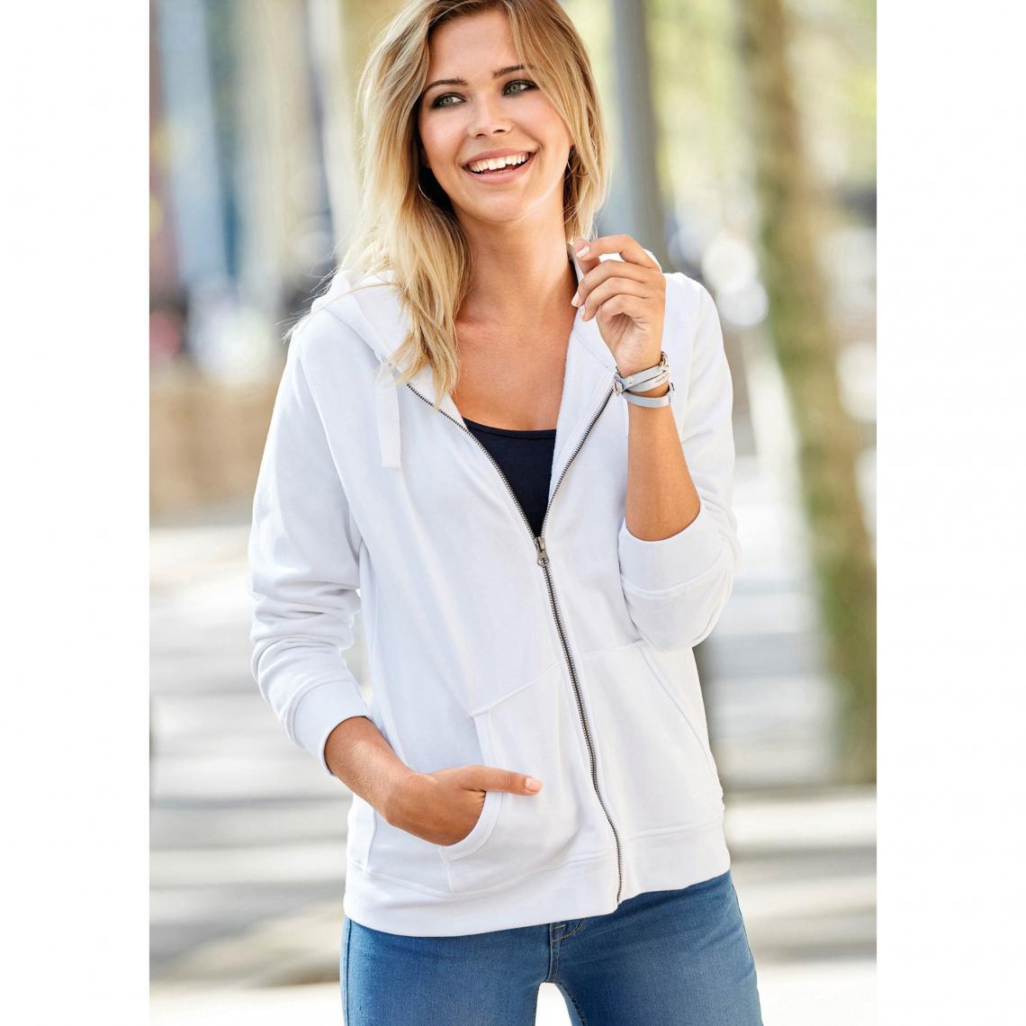 e63ca5b315c1 Sweat zippé à capuche poche kangourou femme Exclusivité 3SUISSES - Blanc 3  Suisses Femme