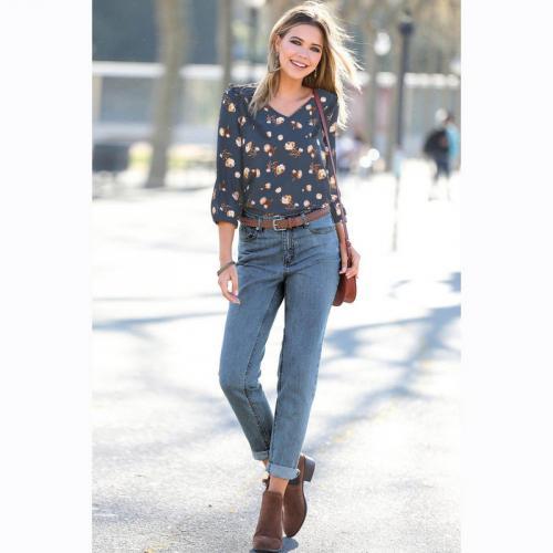 ee7f5e5b3be29 3 Suisses - Jean boyfriend 5 poches taille haute femme Exclusivité 3SUISSES  - Blue Denim -