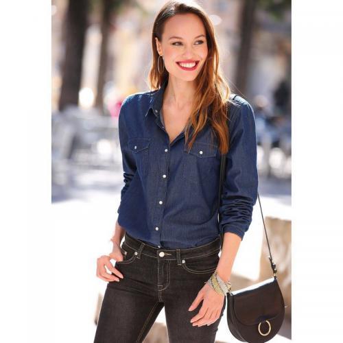 3 SUISSES - Chemise en jean avec pressions manches longues broderie dos femme  exclusivité 3 SUISSES 0c2d8356d31
