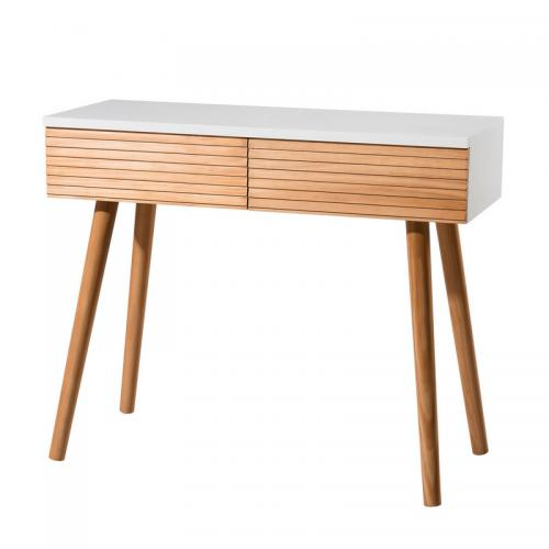 MACABANE - Console 2 tiroirs style scandinave - miel / blanc - Console