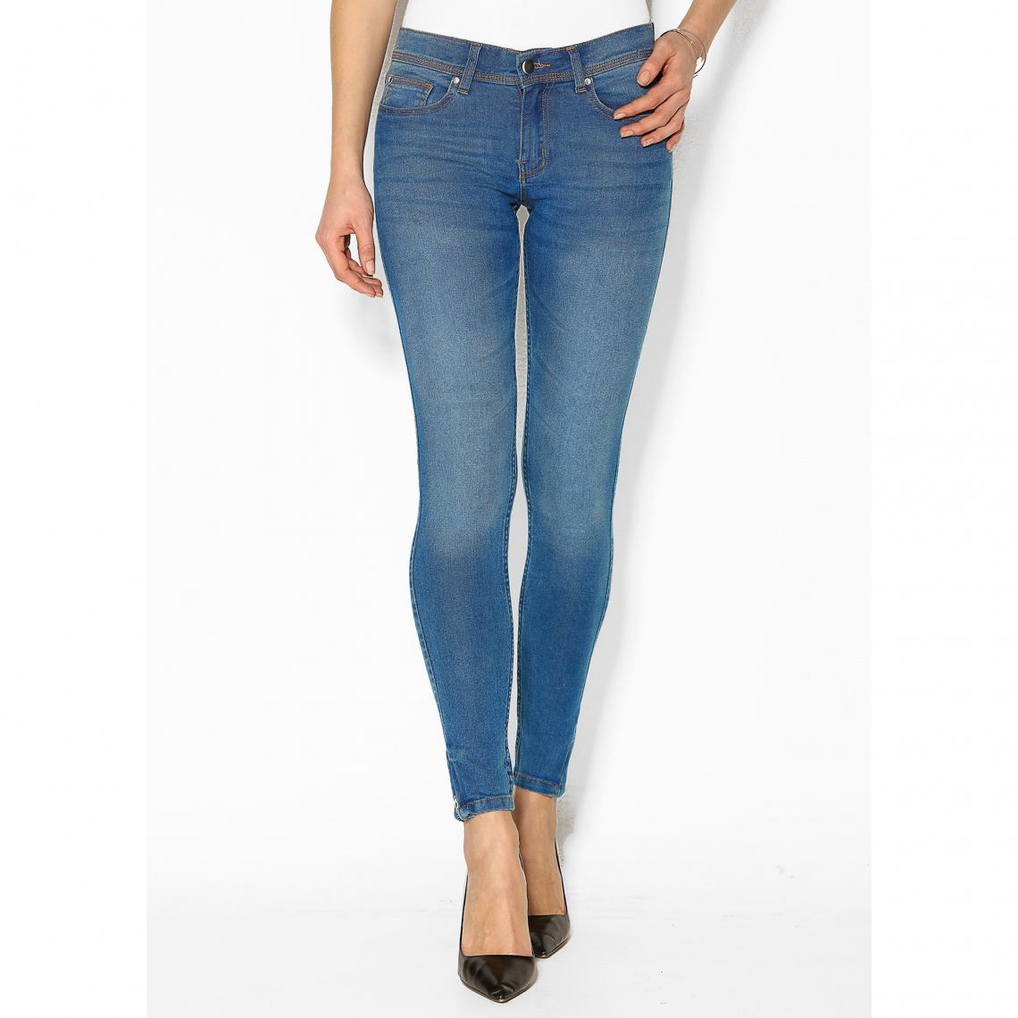 Jean bas zippés femme - Bleu - 3 SUISSES - Modalova