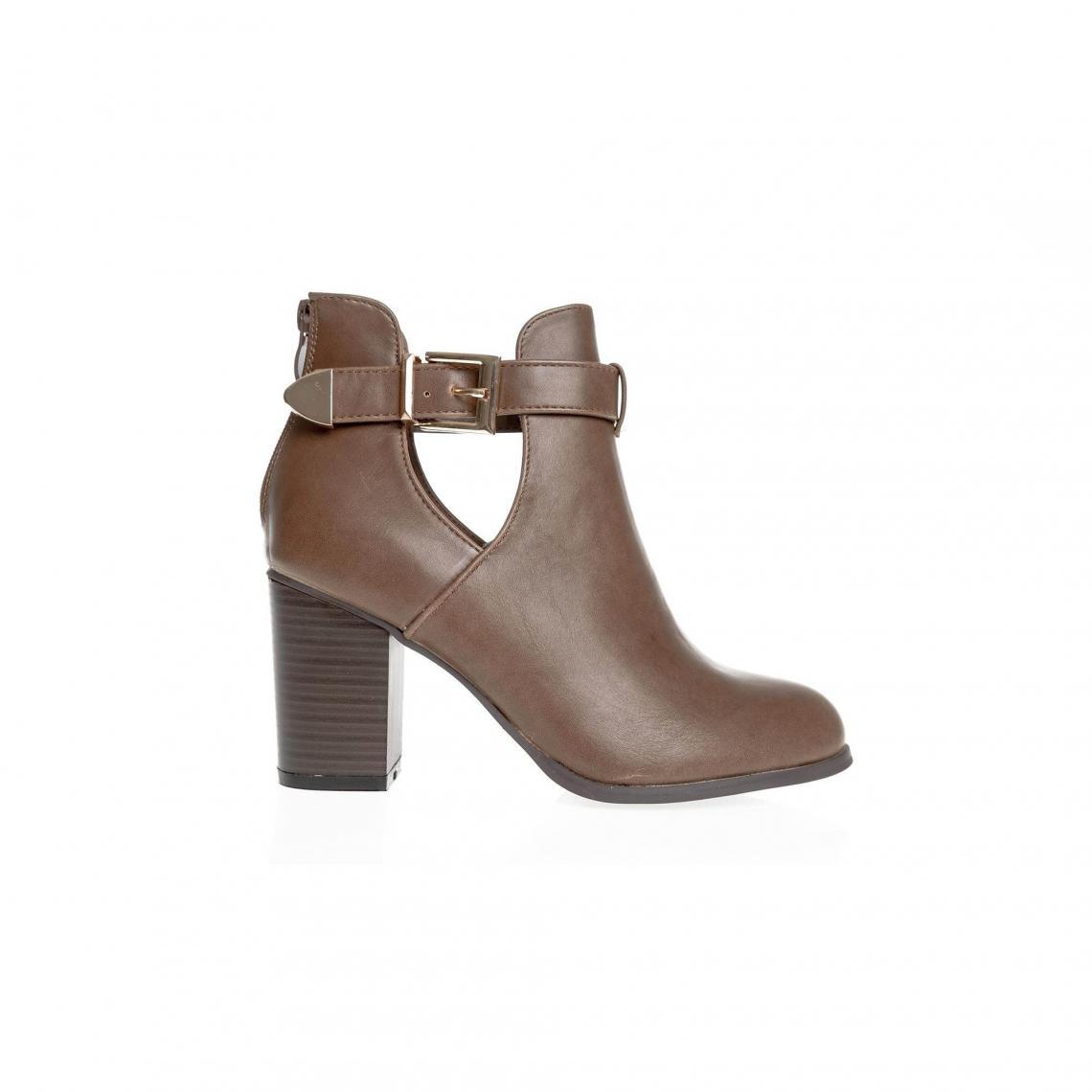 b193fe41464 Boots 3 SUISSES Cliquez l image pour l agrandir. Bottines zip sur talon  boucle latérale femme - Marron ...
