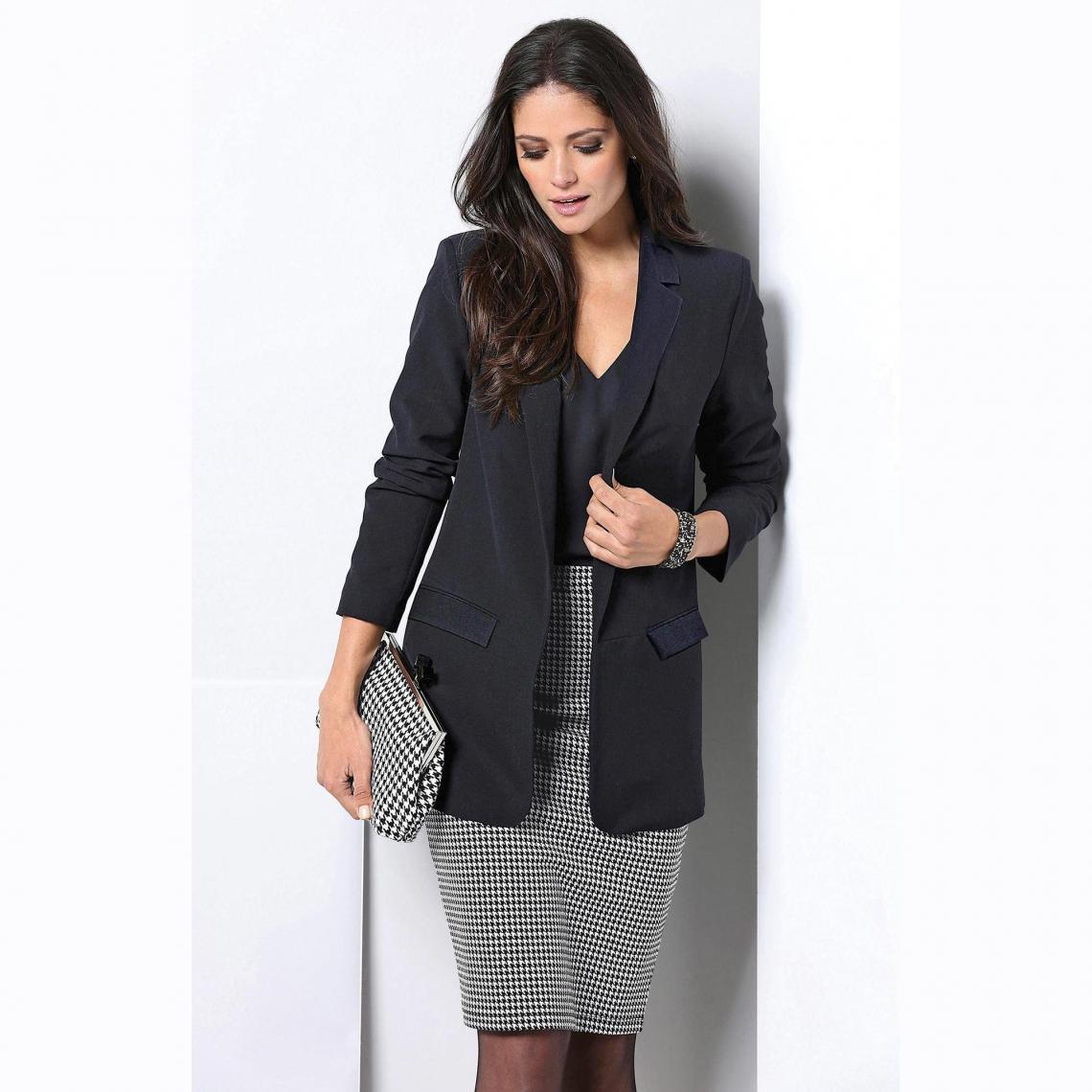 jupe crayon courte taille lastique femme cru noir. Black Bedroom Furniture Sets. Home Design Ideas