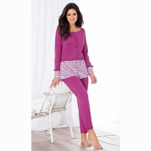 66efbfb97774f 3 SUISSES - Pyjama manches longues et legging femme - Imprimé Fuchsia -  Ensembles et pyjamas