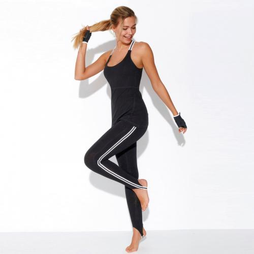 3 SUISSES - Pantalon fuseau fitness taille élastique rayures latérales femme  Exclusivité 3SUISSES - Noir - 16852f32646