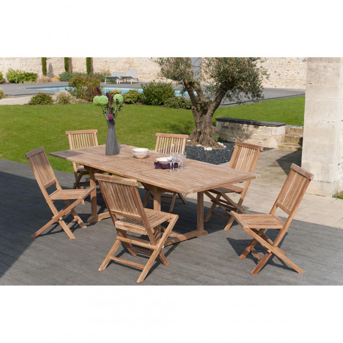 Ensemble table rectangulaire + 6 chaises pliantes en teck massif ...