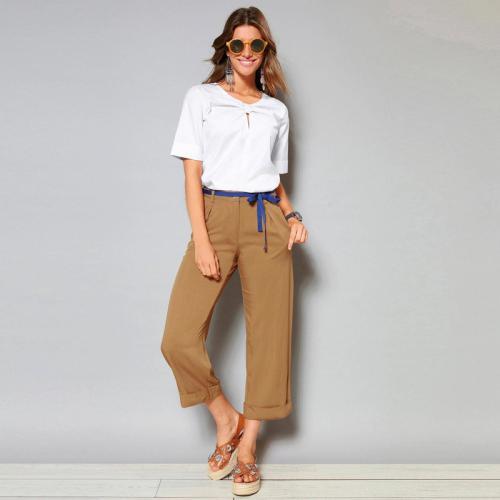 3 Suisses - Pantalon à revers ceinture ruban et pinces femme Exclusivité  3SUISSES - Camel - d8dcc08d85c