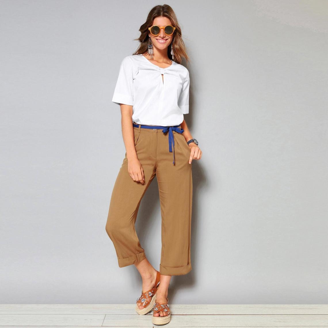 Pantalon à revers ceinture ruban et pinces - Camel - 3 SUISSES - Modalova