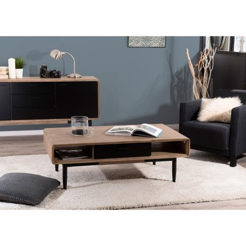 MACABANE - Table basse rectangulaire 2 tiroirs 2 niches esprit atelier - Table basse