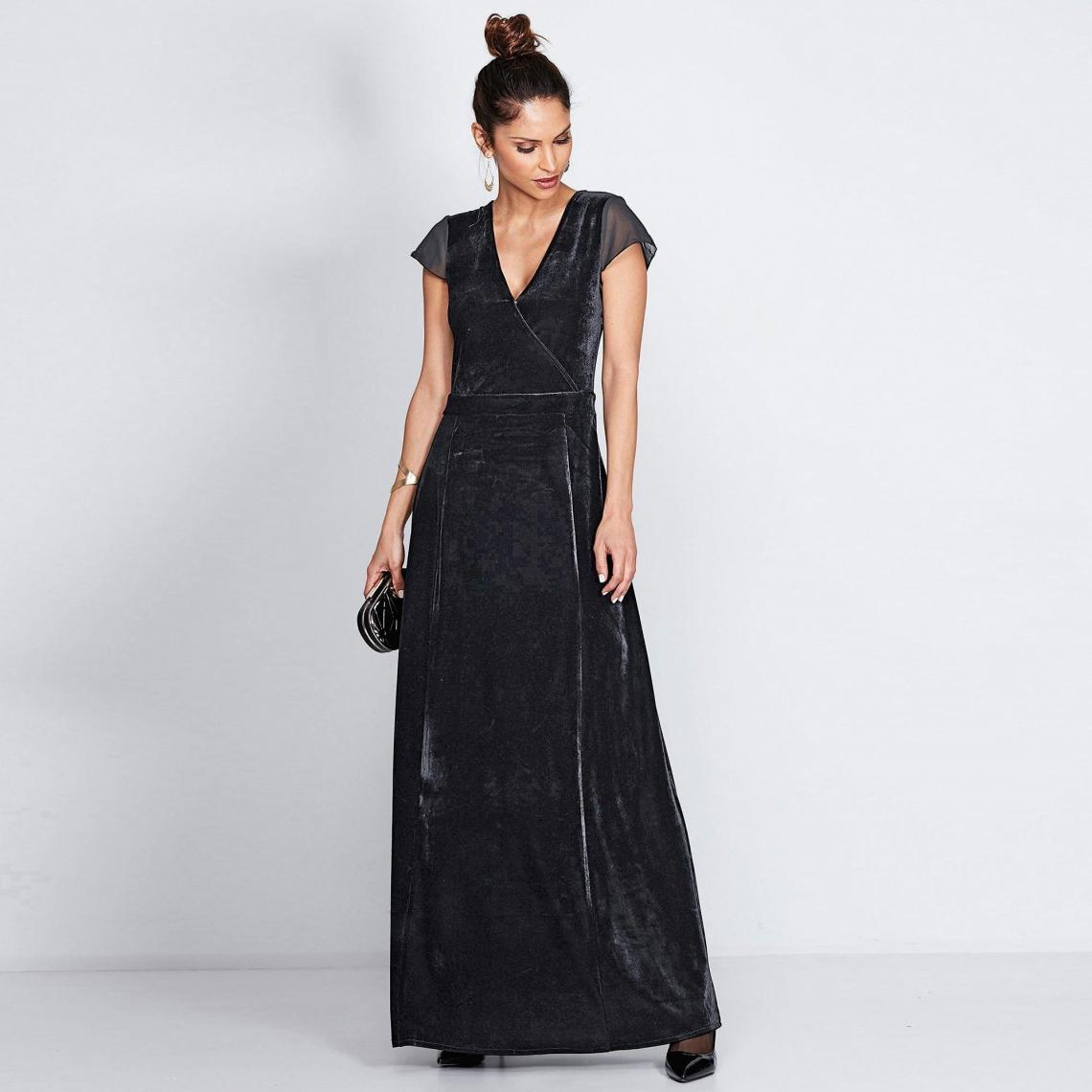 Robe Longue Manches Courtes En Velours Femme Noir 3 Suisses