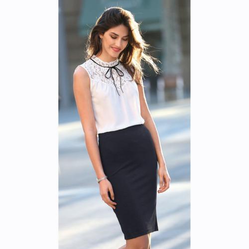 0f4705891769 3 SUISSES - Jupe crayon taille élastique fendue dos femme - Noir - Jupes  courtes femme