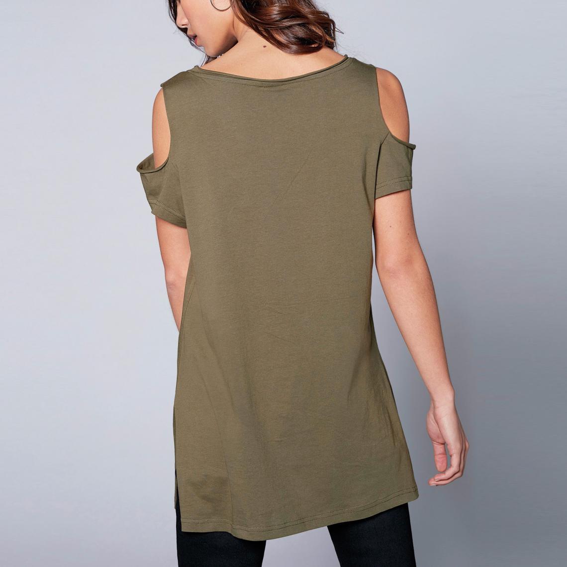 T-shirts imprimés femme 3 Suisses Cliquez l image pour l agrandir. Tee-shirt  fendu manches courtes ouverture sur épaules femme exclusivité 3Suisses -  Kaki ... f77aa58f590a