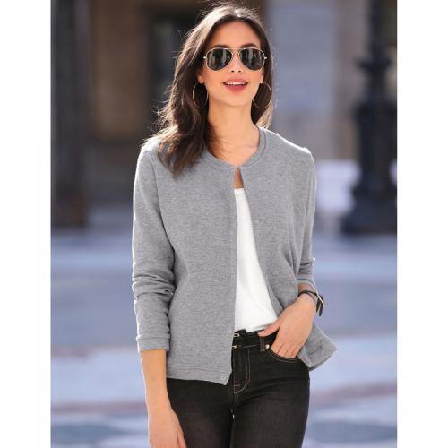 3 SUISSES - Veste manches longues fermée par pressions femme Exclusivité  3SUISSES - gris chiné - 7bdfd072d18