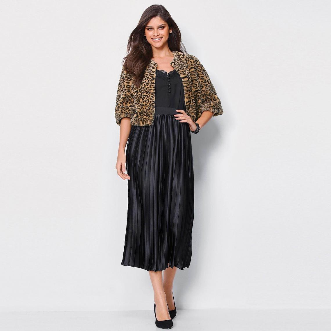 66368cedca0afd Jupe longue plissée doublée taille élastique femme - Noir | 3 SUISSES