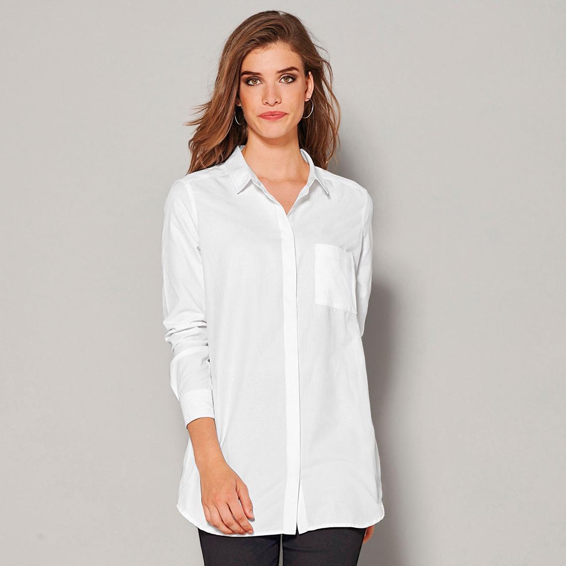 Chemise manches longues bas arrondi femme Blanc | 3 SUISSES