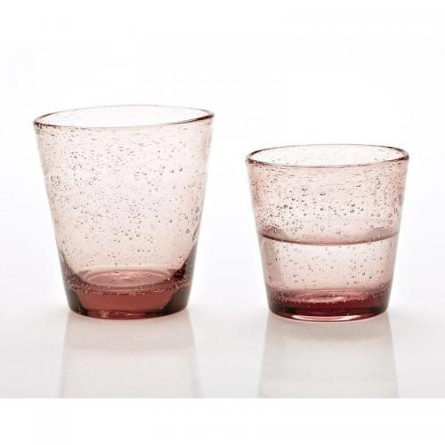 3S. x Home - Lot de 6 grands verres bulles - Rose - Verre