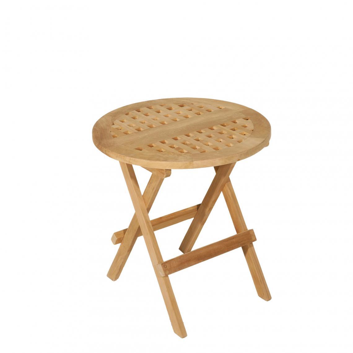 Table pique-nique ronde en teck massif - Teck | 3 SUISSES