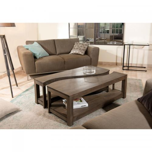 3 SUISSES - Table basse rectangulaire bipartite - Gris Tabac - Salon