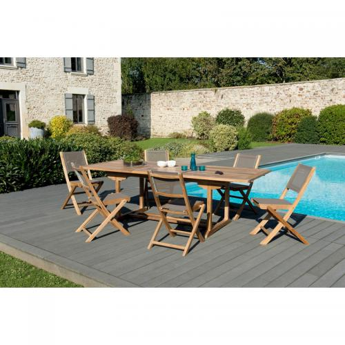 3 SUISSES - Ensemble table rectangulaire extensible + 6 chaises pliantes en teck massif et textile - Teck - Ensemble table, chaise