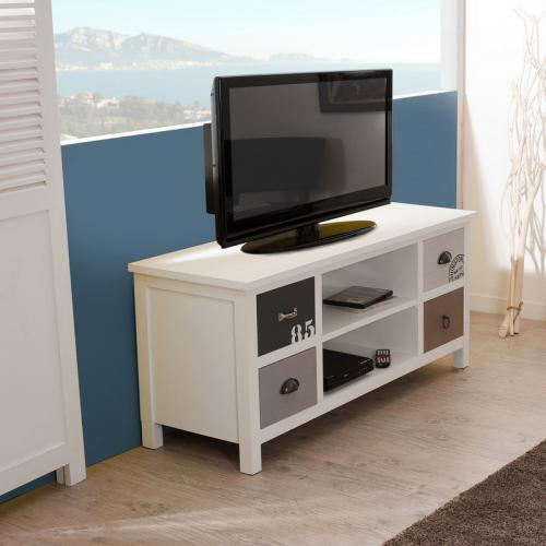 3 SUISSES - Meuble TV 2 niches 4 tiroirs style bord de mer - Multicolore - Meuble TV