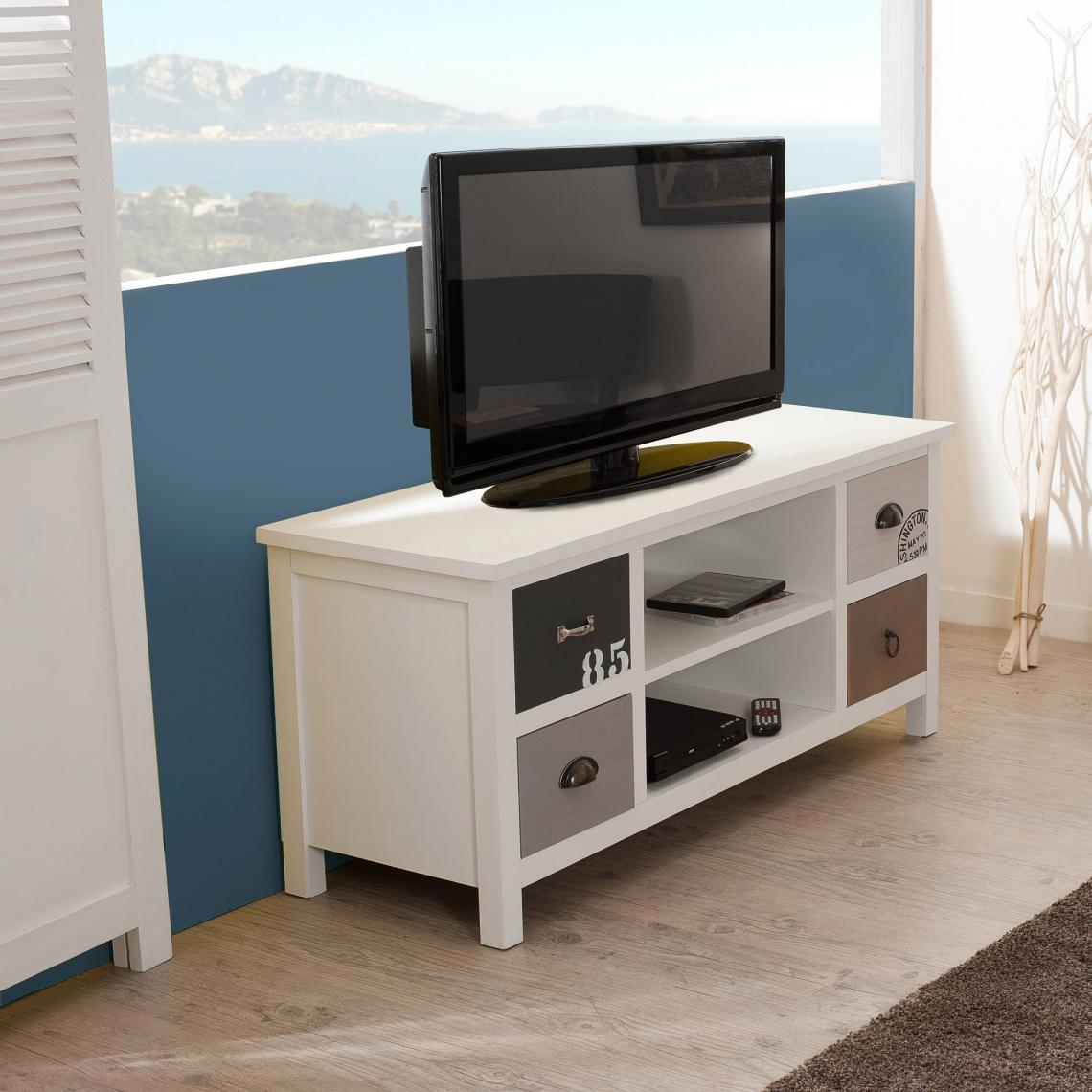 Meuble Tv 2 Niches 4 Tiroirs Style Bord De Mer Multicolore 3 Suisses