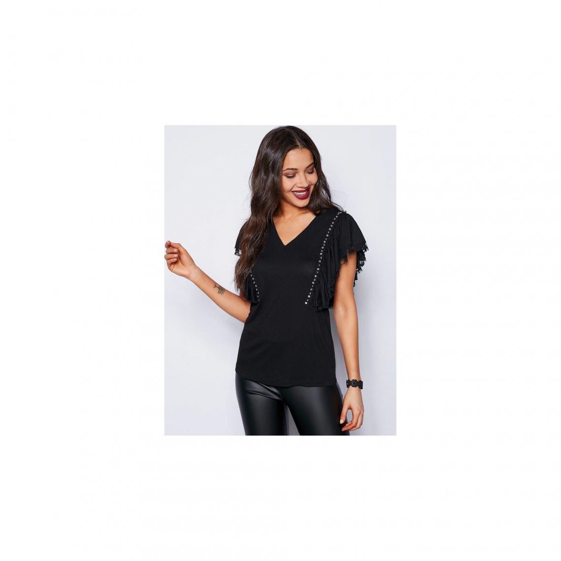 Tee-shirt col V devant dos en U dentelle volants et strass femme - Noir 4NgQC
