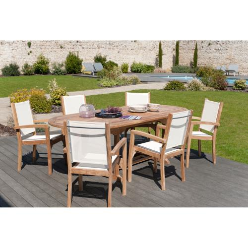 3 SUISSES - Ensemble table ovale extensible + 6 fauteuils empilables en teck massif et textile - Ensemble table, chaise