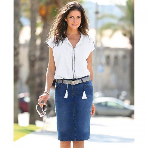 b943cb118091 3 SUISSES - Jupe en jean 5 poches fente bas du dos femme - bleu foncé