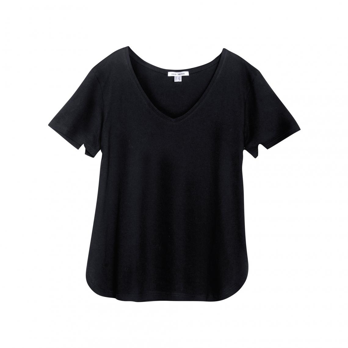 Tee shirt col V manches courtes bas arrondi femme Noir Plus de détails