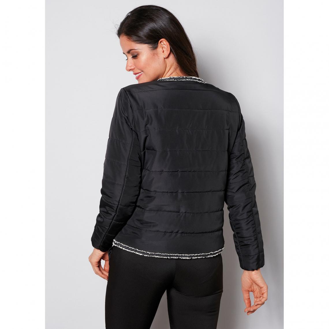 Blouson matelassé zippé manches élastiquées et décorations femme Noir 3 SUISSES